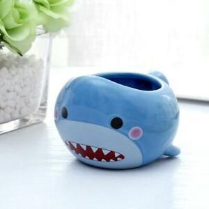 12 oz Cartoon Blue Baby Shark Ceramic Painted Coffee Mug,Fun Kids Drinking Cup
