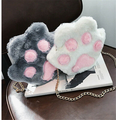 SO Cute Lolita Cat/'s Paw Claw Plush Messenger Shoulder Bag Purse Girl Xmas Gift