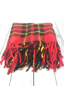 Vintage-Red-Plaid-100-Wool-Stadium-Blanket-with-Fringe-EUC-54-034-x-54-034-Picnic