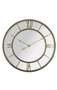Large Gold Mirror Skeleton Style Wall Clock Shabby Vintage Chic Roman Numeral Ebay