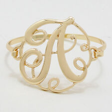 "Monogram Initial Bangle Bracelet GOLD 1.75""Letter A Hinge Bangle Metal Jewelry"