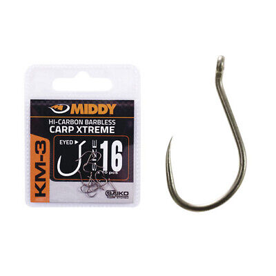 MIDDY KM3 EYED CARP XTREME TEFLON BARBLESS HOOKS COARSE FISHING