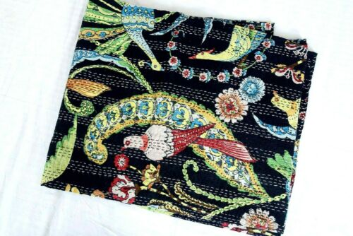 Vintage Hand Made Floral Kantha Quilt Bed Spread Throw King Size Home Decor Boho