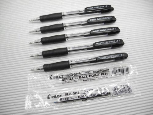 2 refill Pilot Super Grip 0.7mm Fine Roller Ball Point Pen BLACK 5 pens Japan