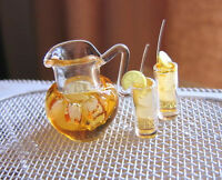 Dollhouse Miniature Or Fairy Garden Pitcher Of Iced Tea And 2 Filled Glasses