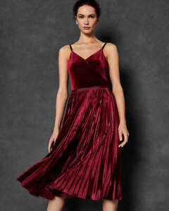 Ted-Baker-Chim-Velluto-a-Pieghe-Midi-Dress-RRP-280