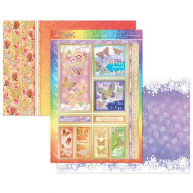 A4 Hunkydory Decoupage Sheets /& Matching Card Sheets Flutterbye Rainbow