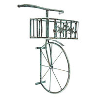 Large Beautiful Antique Turquoise Bicycle Metal Wall Decor With Planter.