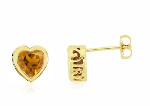 14K Yellow gold Citrine Earrings golden Yellow Citrine Heart Studs 2.25ct