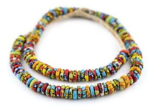 Cape-Coast-Fused-Rondelle-Recycled-Glass-Beads-11mm-Ghana-African-Multicolor