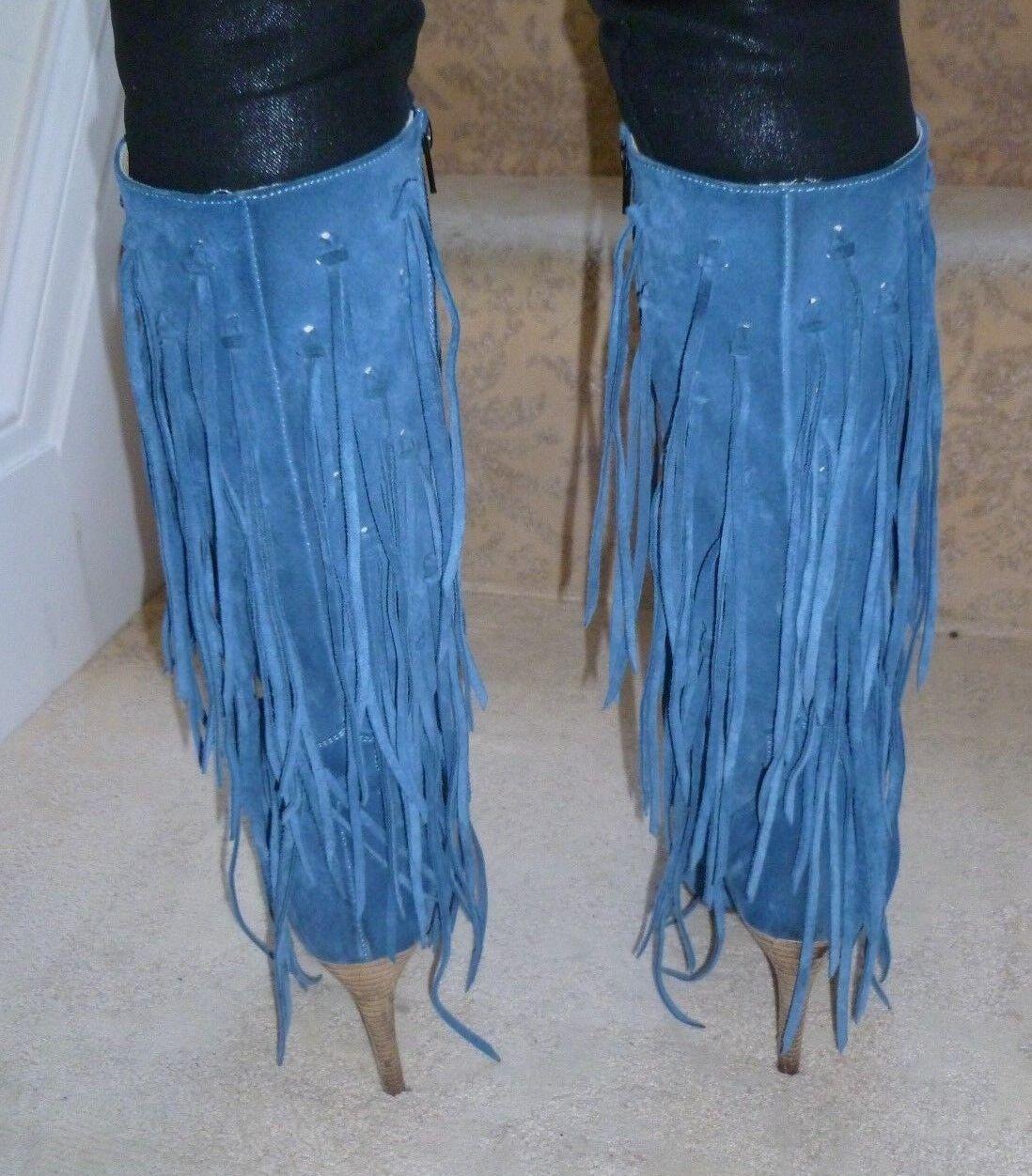 Fabulous Tasseled/Fringed Italian Blau Suede Tasseled/Fringed Fabulous Stiefel - Größe 4 f7077b