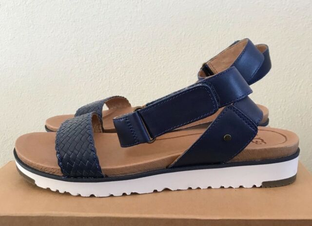 3dce3b8a313 UGG Womens Laddie Flat Sandals Shoes Marino Blue Size 7 Leather Ankle Straps