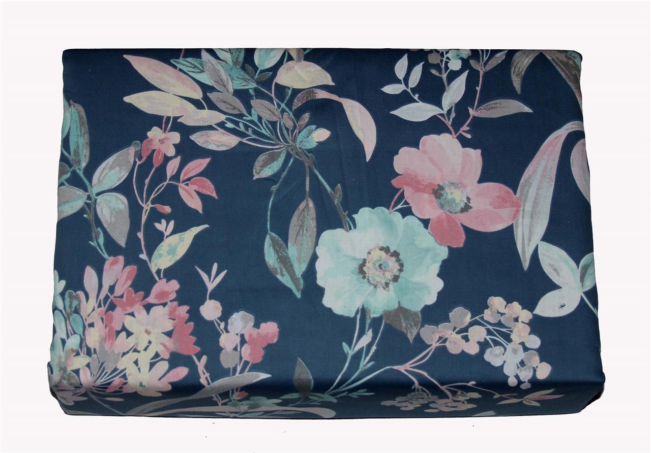 Cynthia Rowley Watercolor blueeee FLORAL Sateen 3-Pc KING Duvet Cover & Shams NIP