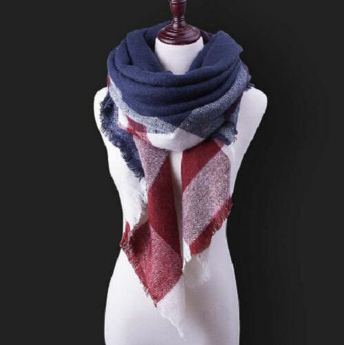 Women Plaid Winter Scarf Cashmere Cotton Blend Triangle Shape Shawl Pashmina