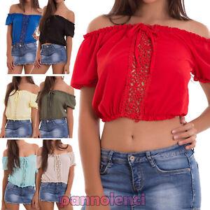 Maglia-donna-top-corto-maglietta-carmen-gitana-pizzo-boho-sexy-nuova-AS-2290