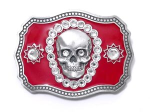 SKULL RHINESTONE RED BELT BUCKLE 13825 new western belt buckles