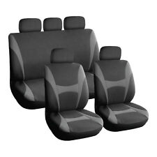 Grey and Black, Executive Car Seat Covers, Front & Rear: Plush Velour (8 Piece)