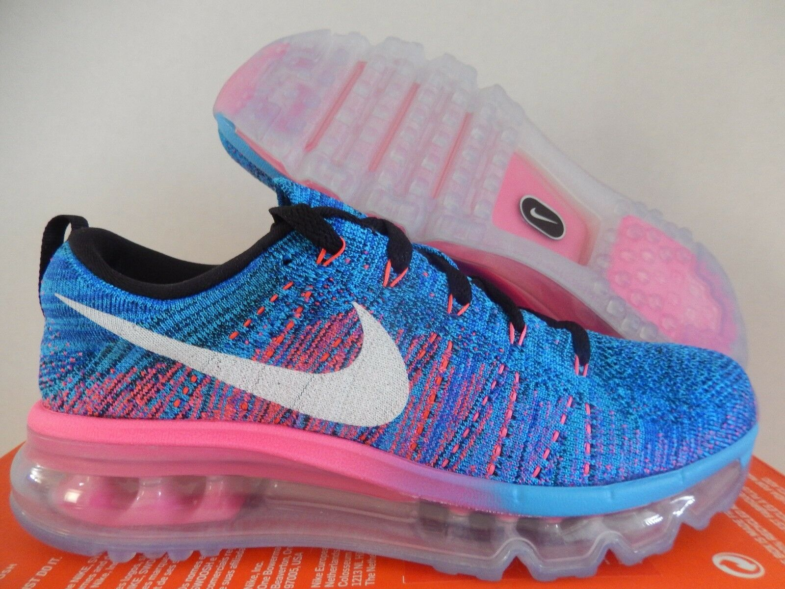 WMNS NIKE FLYKNIT MAX BLACK-WHITE-BLUE-GLOW-RACER BLUE-PINK Price reduction