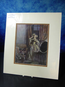 Vintage-Edmund-Dulac-1882-1953-ART-PRINT-Woman-with-mask-looking-at-mirror