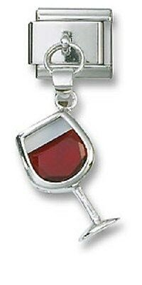 Italian Charm Dangle Red Crystal Wine Sterling Silver