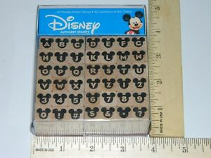 ABC-Classic-Mickey-Mouse-Disney-42pc-Set-Alphabet-Numbers-Rubber-Stamp-Lot