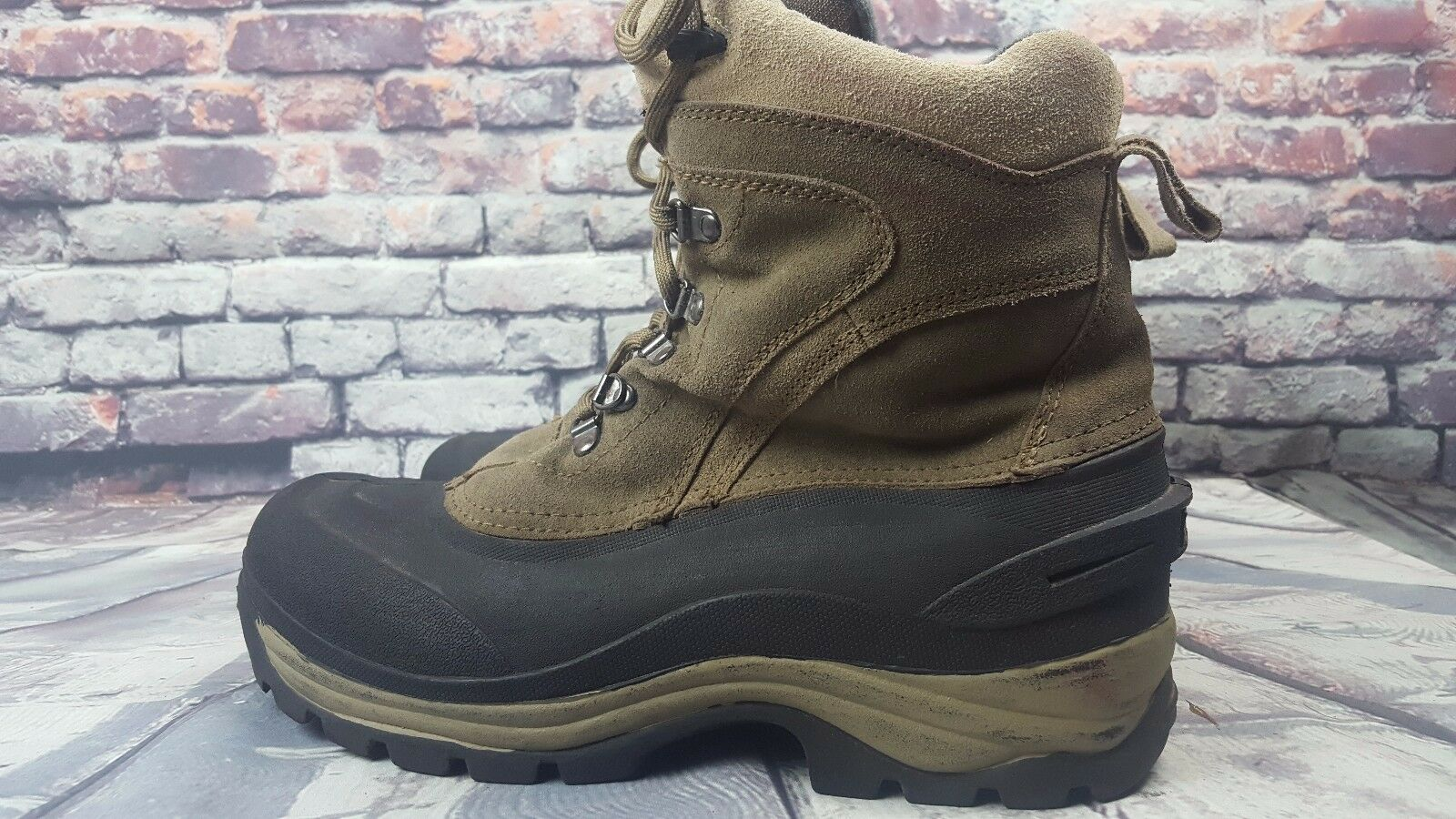 Men's POLAREDGE Warm Thermolite Winter suede Snow Boots Green & B Shoes Size 11