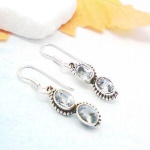Blautopas-blau-oval-Nostalgie-Design-Ohrringe-Ohrhaenger-925-Sterling-Silber-neu