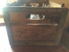 "Antique/vintage Borden Milk Crate 47 Wood & Metal With 12 Quart Bottles ""Rare""."