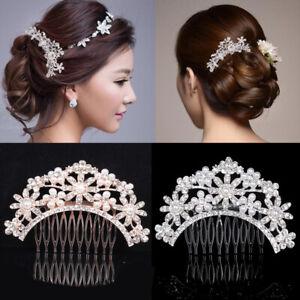 Luxury-Bridal-Wedding-Jewelry-Crystal-Rhinestone-Pearl-Flower-Hair-Comb-Clip