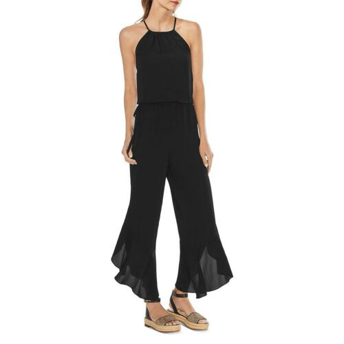 Vince Camuto Womens Textured Ruffled Halter Neck Jumpsuit BHFO 0629