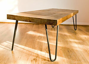 Rustic Vintage Industrial Solid Wood Coffee Table Black Metal Hairpin