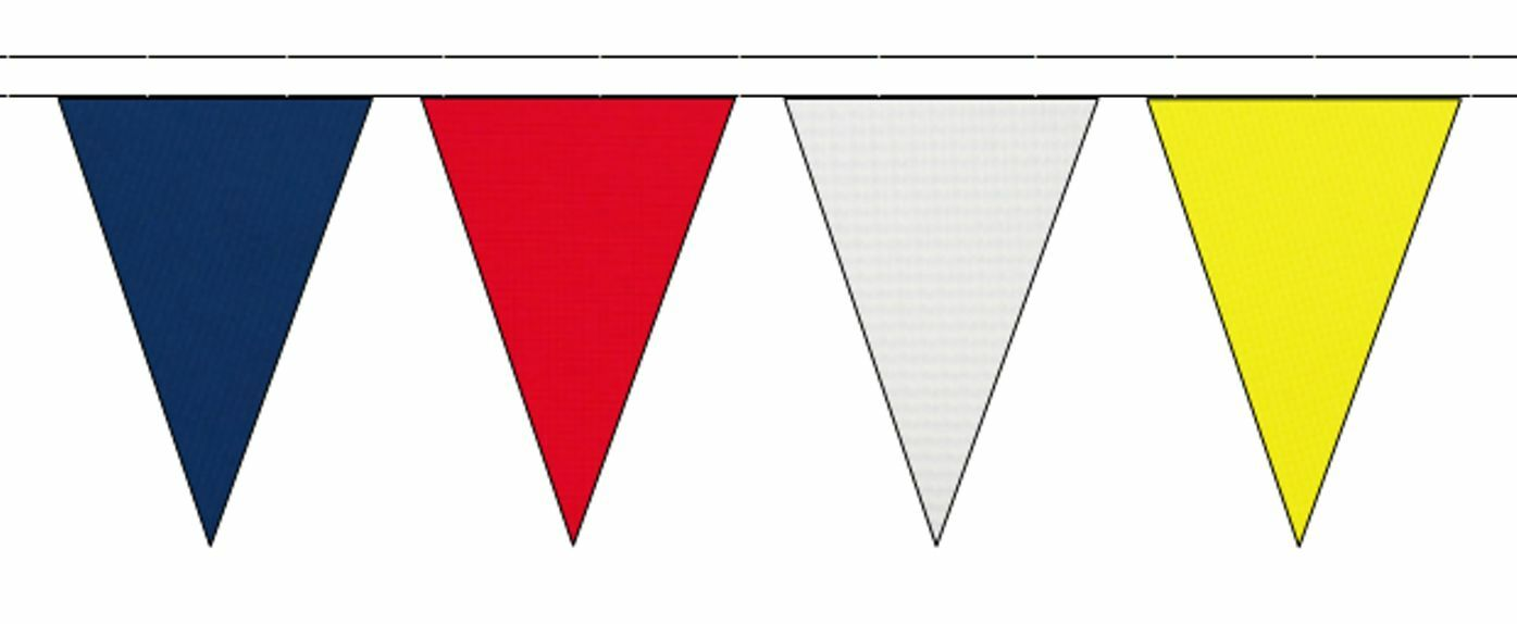 Royal bleu rouge blanc & jaune Triangular Flag Bunting - 50m with 120 Flags