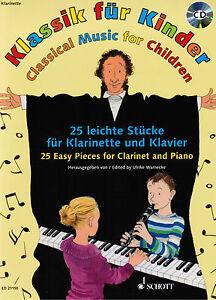 Klarinette-Klavier-Noten-Klassik-fuer-Kinder-mit-CD-leichte-Mittelstufe