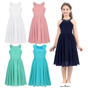 New Ruched Chiffon Bridesmaid Princess Wedding Girls Dress Party Kids Clothes Ebay