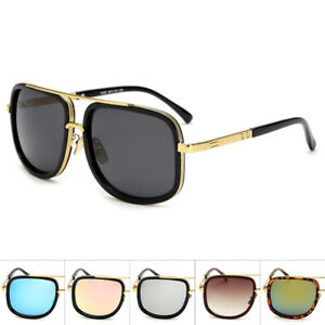 Mach-Oversized-Square-Aviator-Gold-Metal-Bar-Men-Designer-Fashion-Sunglasses-New