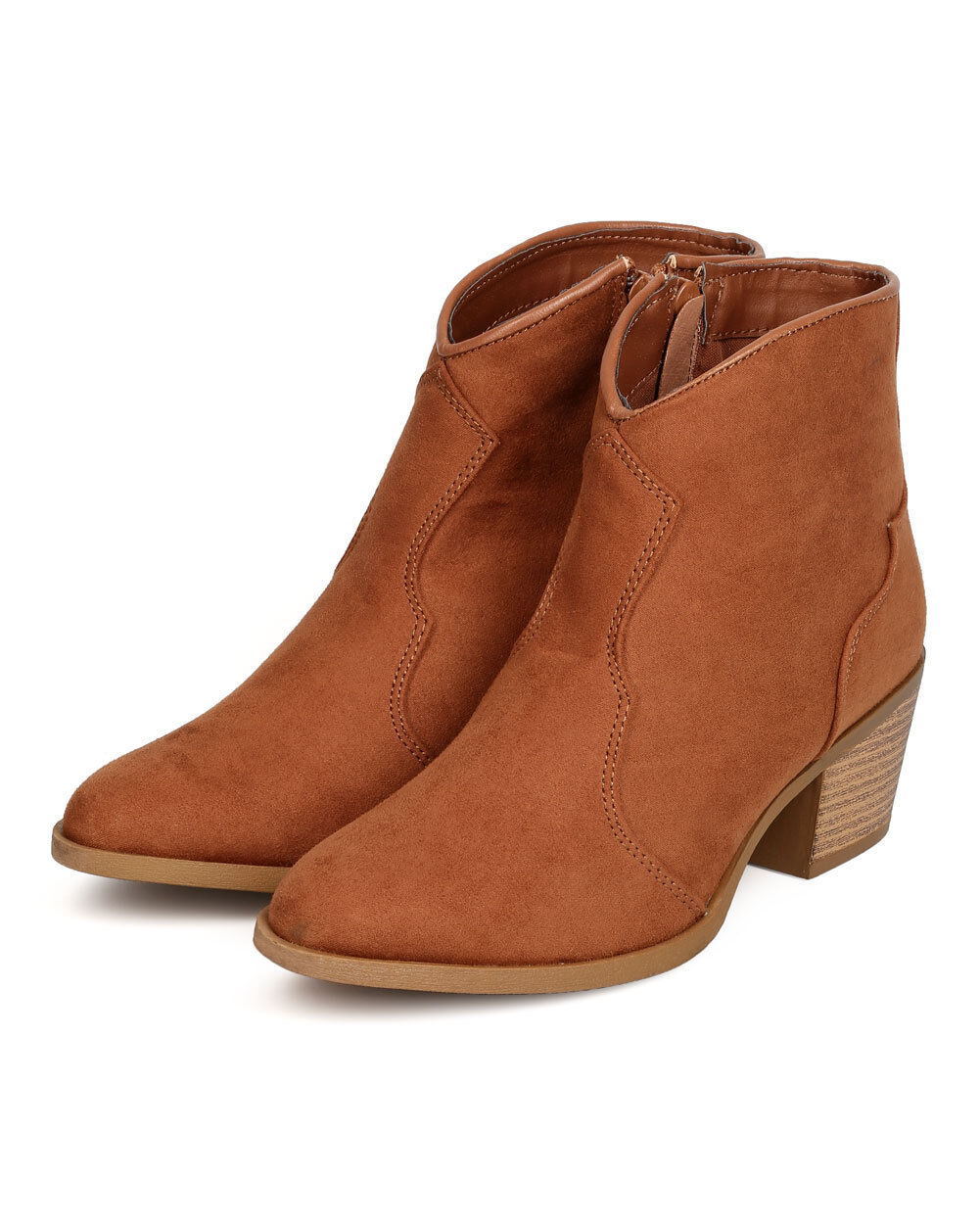 New Women Qupid Rover-15 Faux Suede Pointy Toe Cowboy Bootie