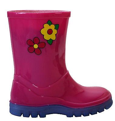 KIDS INFANTS UNISEX GIRLS BOYS RAIN WATERPROOF PUDDLE BOOTS WELLINGTON WELLIES