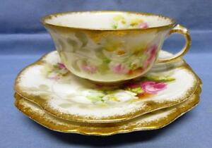 LIMOGES FRANCE A. LANTERNIER TRIO- DESSERT PLATE CUP&SAUCER ANTIQUE c.1891-1914
