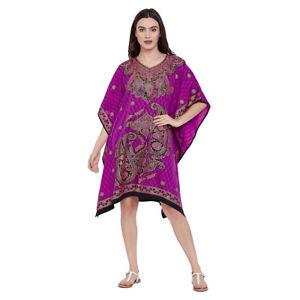 Details about Tunic Dress Kaftan Women Plus Size Caftan Plus Purple Tunic  Kimono Maxi Dress