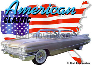 1960 Gold Cadillac Custom Hot Rod USA T-Shirt 60 Muscle Car Tee's  