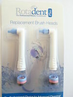 Set Of 2 Rotadent Plus Elongated Brushhead - Brush Head Rota Dent Free Ship