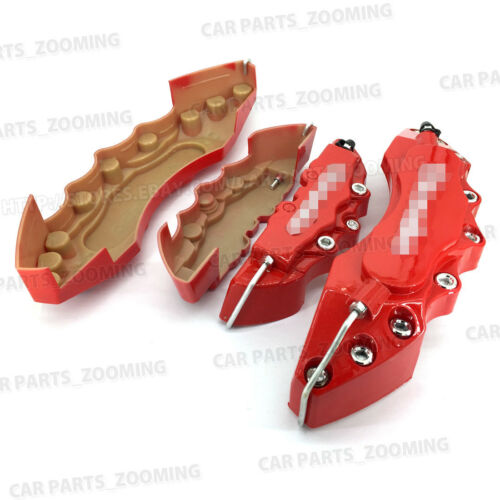 4x Red 3D Style Brake Caliper Covers Universal Car Disc Front Rear Kits L+S WL02