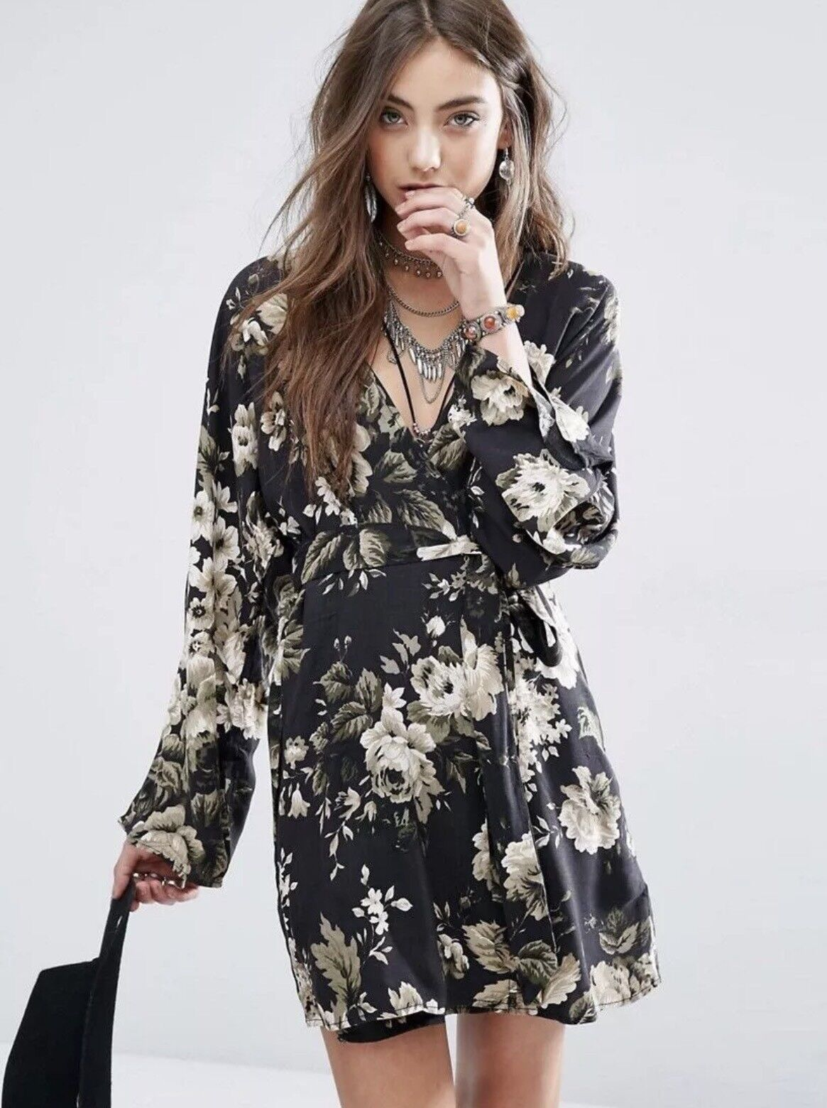 NWT RALPH LAUREN DENIM&SUPPLY WOMENS FLORAL WRAP SILHOUETTE KIMONO DRESS SIZE S