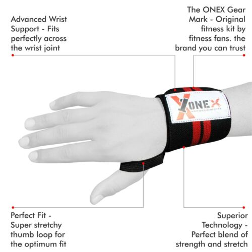 ONEX Weight Lifting Wrist Wraps Bandage Hand Support Cotton Gym Straps Grip MMA