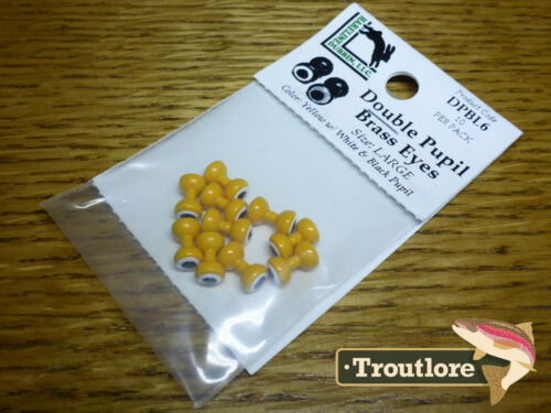 HARELINE DOUBLE PUPIL BRASS EYES YELLOW LARGE NEW FLY TYING MATERIALS