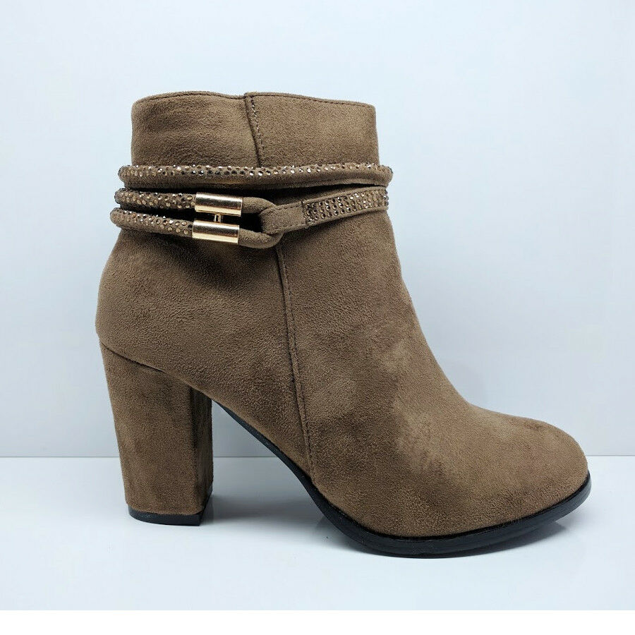 WOMENS LADIES KHAKI CHUNKY BLOCK HIGH HEEL ANKLE BOOTS ZIP UP SHOES SIZE