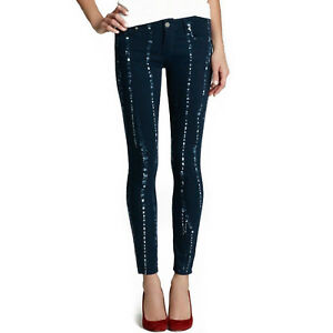 New-PAIGE-Jeans-Women-039-s-Size-25-Summer-Night-Batik-Blue-Verdugo-Skinny-Leg-nwt