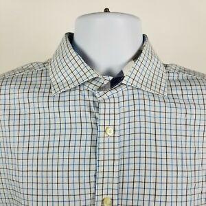 TD-Thomas-Dean-Mens-Black-Blue-White-Check-L-S-Dress-Button-Shirt-Sz-Large-L