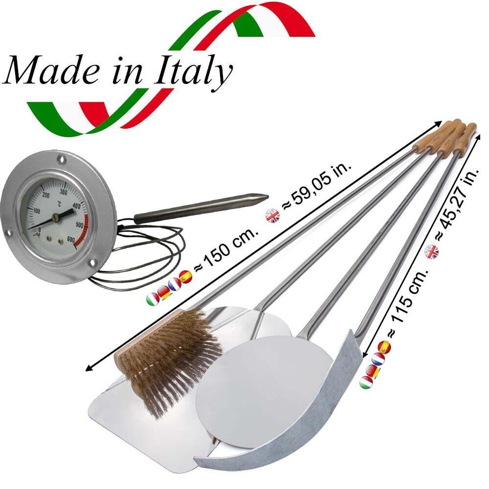 Set di 4 Pale in Acciaio 150 cm per Forno a Legna Termometro 600° Pale da Pizza
