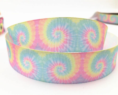 1-10 Yard 1/'/'25MM rainbow Printed Grosgrain Ribbon Hair Bow Sewing Ribbon select